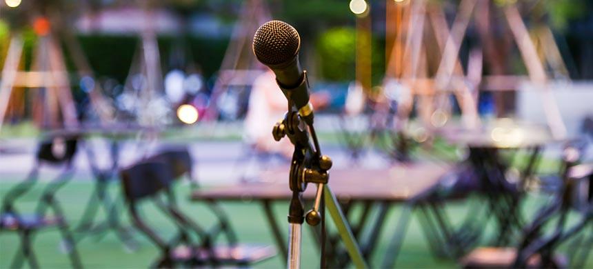 Hochzeitssprüche Bild mit Mikrofone